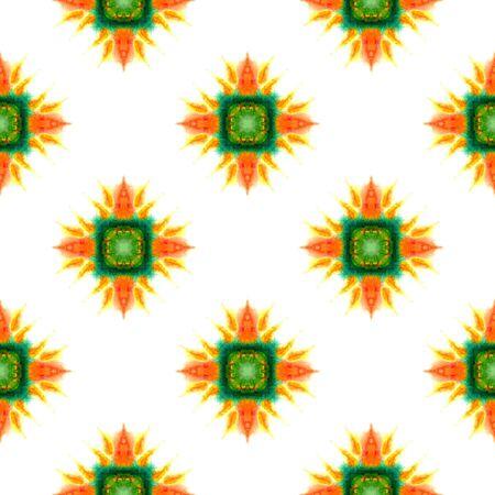 Geo Texture.  Mandala, Medallion, Floral, Flower Seamless Pattern. Traditional Surface. Folklore Vintage Fabric. Green, Orange Art. Geometric Ornament.