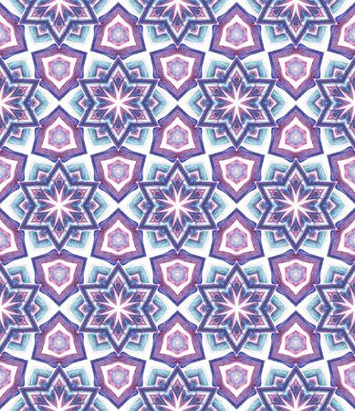 Tribal Art. Endless Repeat Painting.  Eastern, Mandala, Medallion, Floral Ornament. Geo Art. Geo Folklore Home Decor. Purple, Pink Pattern. Geometric Motif. Banco de Imagens