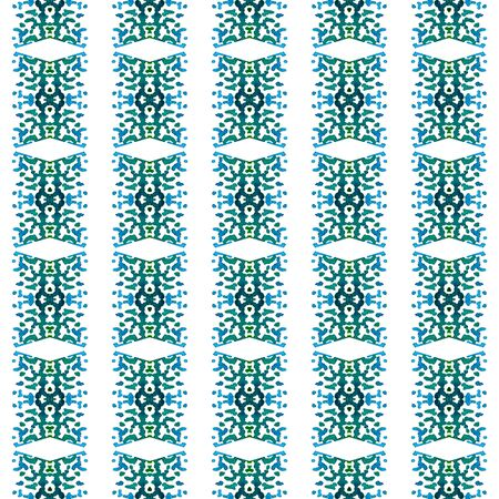 Traditional Art.  American, Navajo, Cherokee Seamless Pattern. Ethnic Surface. Native Textile. Blue, Green, Lime, Mint Mosaic. Graphic Tile. Banco de Imagens