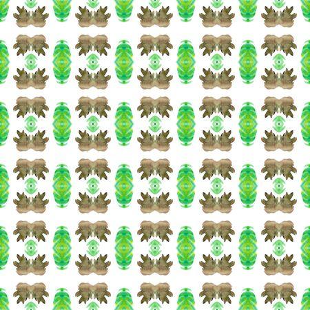 Ethnic Surface.  Tie Dye, Batik, Paint Texture Seamless Pattern.  Green, Brown Modern Tribal Old Bed Linen. Herringbone Stripes Art.