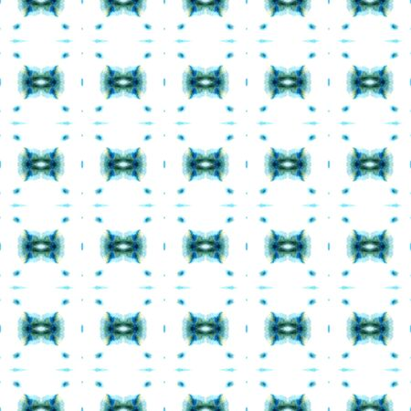 Traditional Graphic.  Paint Texture, Shibori Seamless Pattern. Blue, Cyan, Turquoise Modern Old Ancient Textile. Woven Ornamental Pattern. Banco de Imagens