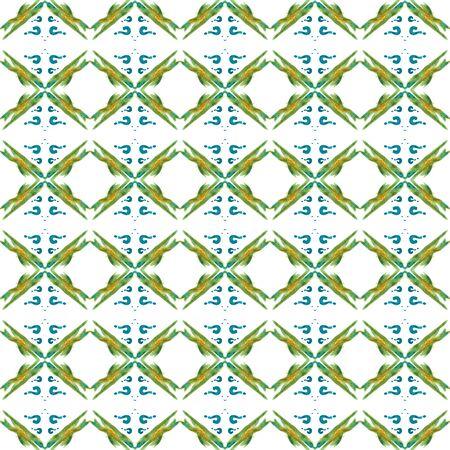 Chevron Geometric   Bohemian, Hippie, Boho, Gypsy Seamless Pattern.  Ethnic Texture. Old Summer Carpet. Blue, Green  Design. Medallion Print. Banco de Imagens