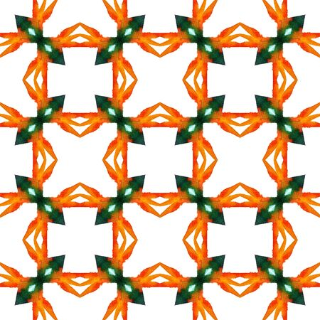 Modern Abstract, Endless Repeat Painting.  Peruvian, Mexican, Navajo Ornament. Geo Geometric. Traditional Textile. Red, Orange Mosaic. Ornamental . Banco de Imagens