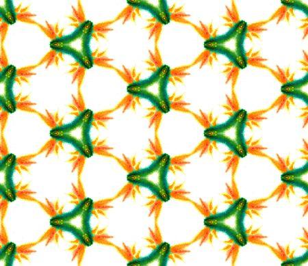 Traditional Art.  Turkish, Arab, Arabesque, East Seamless Pattern. Geo Surface. Modern Tribal Woven. Green, Orange Art. Medallion Texture.