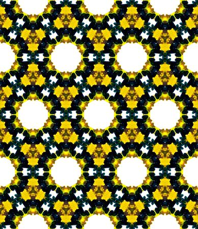 Surface. Endless Repeat Painting.  Ottoman, Islam, Orient, Spanish  Ornament. Geo Art. Ethnic Native Embroidery. Brown, Yellow Texture. Graphic Tile.