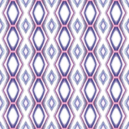 Ethnic Surface.  Boho, Gypsy, Mediterranean, South Seamless Pattern. Traditional Graphic. Traditional Ancient Linen. Purple, Pink Motif. Herringbone Art.