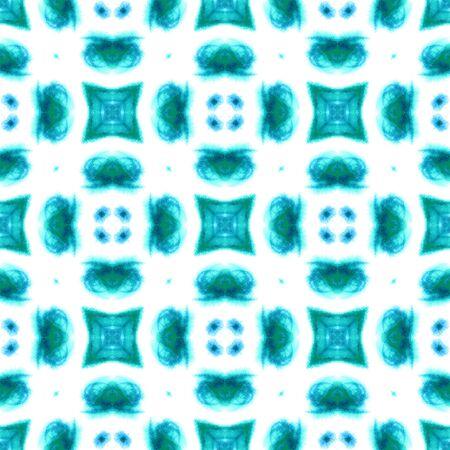 Ethnic  Art.  Russian, Celtic , Polish, Balto-Slavic Seamless Pattern. Geo Texture. Old Carpet. Blue, Cyan, Art. Organic . Banco de Imagens