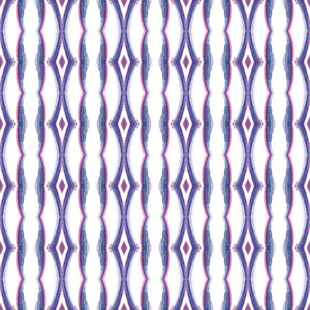 Traditional Graphic  Peruvian, Mexican, Navajo Seamless Pattern. Traditional Graphic. Native Embroidery. Pink, Purple, Lilac . Stripes Design. 免版税图像