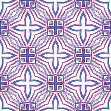 Traditional Surface. Endless Repeat Painting.  Orient, Spanish, Talavera, Tunisian Ornament. Ethnic Texture. Ethnic Modern Home Decor. Purple, Pink Watercolor. Geometrical Art. 免版税图像