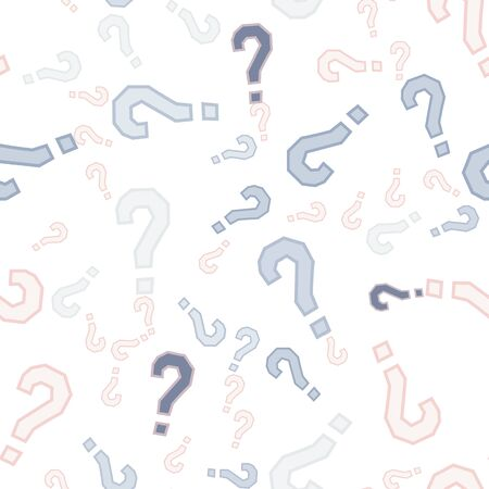 Quiz seamless pattern. Question marks, doubt, faq background. Simple endless repeating motif. Poll, survey, interrogation, query background. Template for opinion poll, public poll Vector illustration.