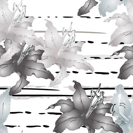 Floral Black and White Seamless Pattern. Graphic Botanical Vector Motif. Blooming Texture For Fashion Prints. Outline Lily Flowers Surface. Stripe Hand Drawn Motif. Elegant Sketch Drawing Illustrated.