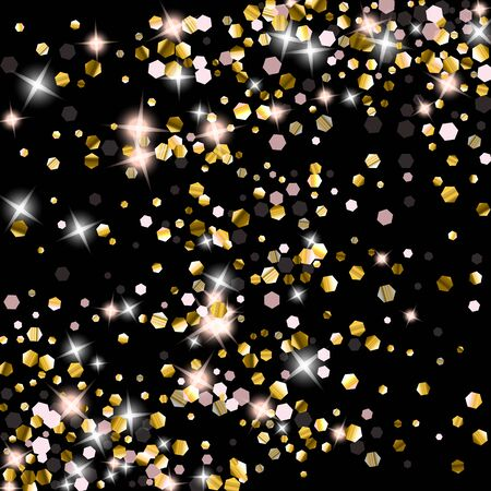 Gold Glitter Stars. Luxury Shiny Confetti. Scattered little sparkle. Flash glow silver element. Random magic tiny light. Hexagon stellar fall black background. New Year, Christmas Vector illustration.