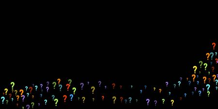 Question marks scattered on black background. Quiz, doubt, poll, survey, faq, interrogation, query background. Multicolored template for opinion poll, public poll. Rainbow color. Vector illustration.