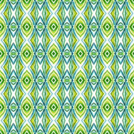 Geo Geometric, Endless Repeat Painting.  Spanish, Talavera, Tunisian, Turkish Ornament. Ethnic Surface. Old Folk Textile. Blue, Green  Pattern. Stripes Pattern.