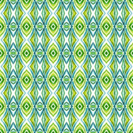 Geo Geometric, Endless Repeat Painting.  Spanish, Talavera, Tunisian, Turkish Ornament. Ethnic Surface. Old Folk Textile. Blue, Green  Pattern. Stripes Pattern.