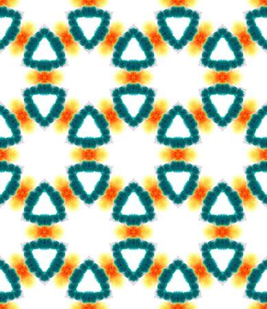 Traditional Graphic Hand Drawn Painted.  Talavera, Tunisian, Turkish, Arab Seamless Pattern. Watercolor Surface. Geo Tribal Woven. Green, Orange Print. Geometrical Pattern. Фото со стока
