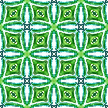 Ethnic Surface. Hand Drawn Painted. Azulejo, Portuguese, Spain, Islam, Arabic  Seamless Pattern. Geo Art. Modern Wallpaper. Blue, Green  Tile. Geometric Design. Фото со стока