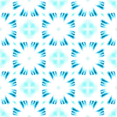 Ethnic  Art. Hand Drawn Painted. Russian, Celtic , Polish, Balto-Slavic Seamless Pattern. Watercolor Surface. Geo Textile. Blue, Cyan, Element. Chevron Motif.