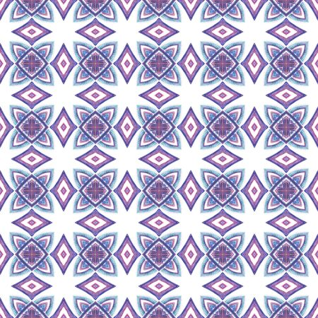 Geo Texture. Hand Drawn Painted. Mandala, Medallion, Floral, Flower Seamless Pattern. Chevron Geometric. Traditional Ethnic Embroidery. Purple, Pink Element. Natural Surface.