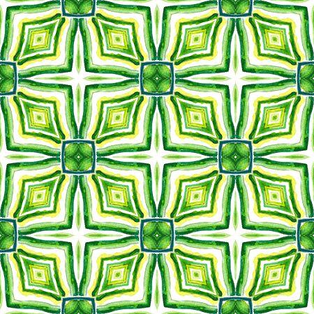 Ethnic Surface. Hand Drawn Painted. Orient, Spanish, Talavera, Tunisian  Seamless Pattern. Watercolor Surface. Folklore Modern Wallpaper. Blue, Green  Design. Geometrical Motif.