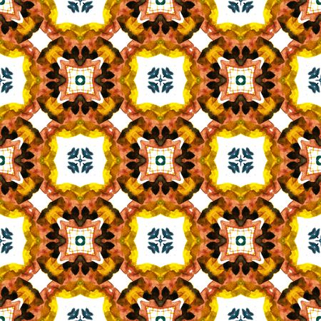 Geo Texture. Hand Drawn Painted. Mandala, Medallion, Floral, Flower Seamless Pattern. Geo Geometric. Modern Ethnic Embroidery. Red, Orange Tile. Stripes Mosaic.