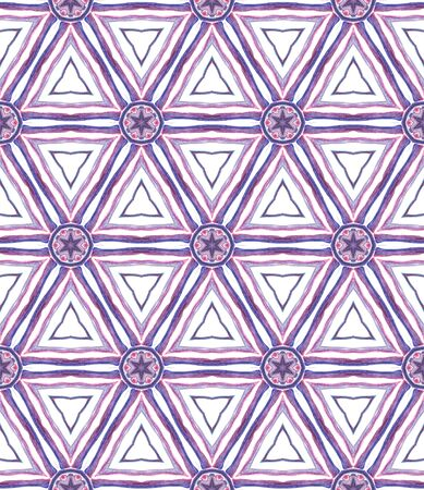 Ethnic Texture. Hand Drawn Painted. Mexican, Navajo, American, Cherokee Seamless Pattern. Tribal Texture. Modern Textile. Pink, Purple, Lilac Mosaic. Geometrical Print.