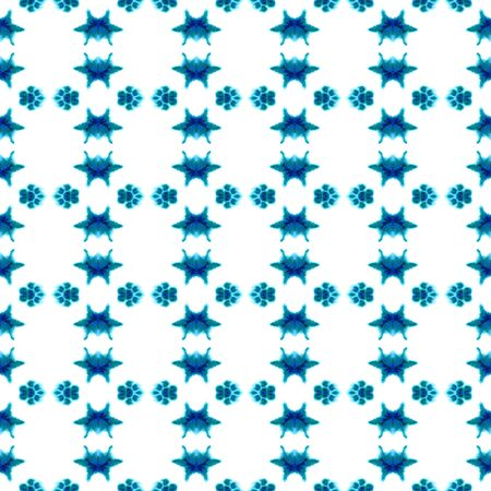 Tribal Art. Endless Repeat Painting.  Texture, Shibori, Watercolor Staining Ornament. Blue, Cyan, Turquoise Summer Native Old Wallpaper Herringbone Stripes Pattern. Stock Photo