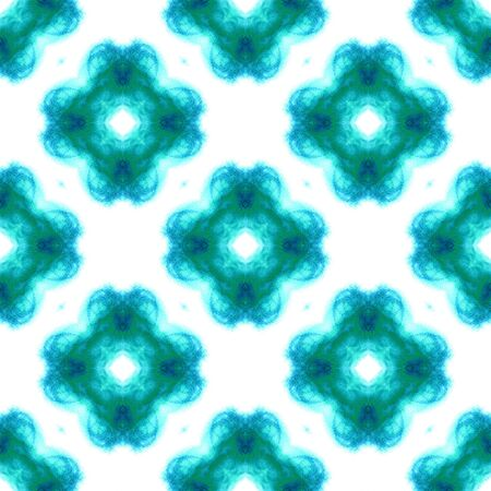 Traditional Art. Hand Drawn Painted. Texture, Shibori, Watercolor Staining Seamless Pattern. Blue, Cyan, Turquoise Summer Geo Old Embroidery. Ornamental Geometrical Element.
