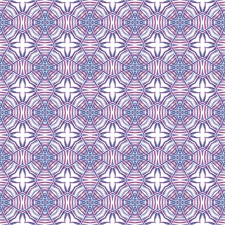 Traditional Surface. Endless Repeat Painting.  Orient, Spanish, Talavera, Tunisian Ornament. Geo Art. Old Native Linen. Purple, Pink Mosaic. Woven Design.