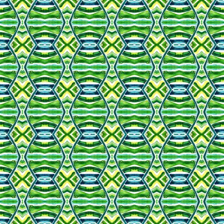 Modern Abstract, Endless Repeat Painting.  Peruvian, Mexican, Navajo Ornament. Ethnic Texture. Vintage Fabric. Blue, Green, Lime, Mint Element. Geometrical Mosaic. Stock Photo