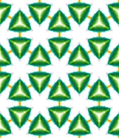 Ethnic  Art. Hand Drawn Painted. Arabesque, East, Eastern, Oriental Seamless Pattern. Modern Abstract. Old Geo Wallpaper. Green, Orange Pattern. Graphic Texture.