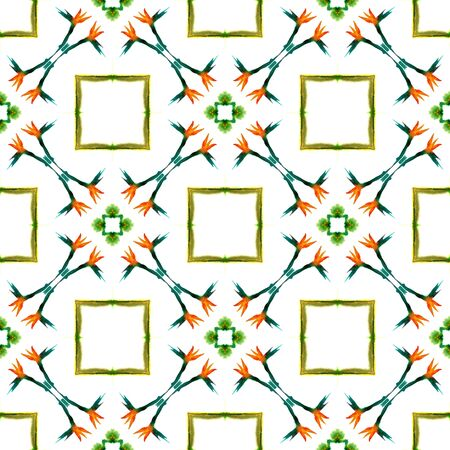 Ethnic Surface. Hand Drawn Painted. Aztec, Navajo, American, Cherokee  Seamless Pattern. Modern Abstract. Folklore Woven. Green, Orange Motif. Graphic Surface. Stock Photo