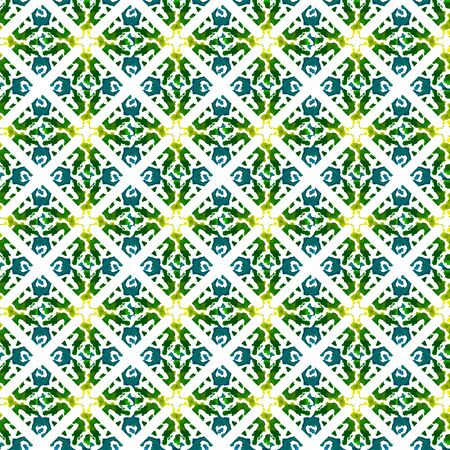 Ethnic  Art. Hand Drawn Painted. Russian, Celtic , Polish, Balto-Slavic Seamless Pattern. Geo Surface. Native Carpet. Blue, Green Print. Natural Element.