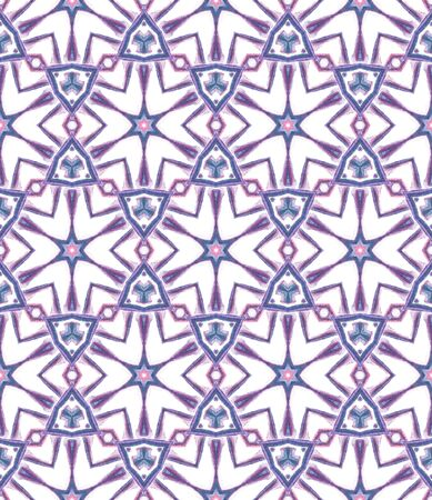 Tribal Texture. Hand Drawn Painted. Navajo, Aztec, American, Cherokee Seamless Pattern. Geo Surface. Traditional Fabric. Pink, Purple, Lilac Tile. Natural Element.