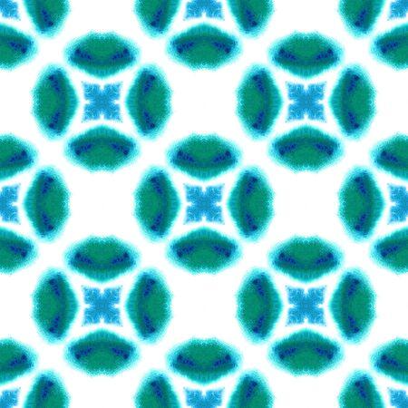 Geo Art. Endless Repeat Painting.  Mandala, Medallion, Floral, Flower Ornament. Watercolor Surface. Vintage Folklore Canvas. Blue, Indigo Motif. Geometrical Ornament.