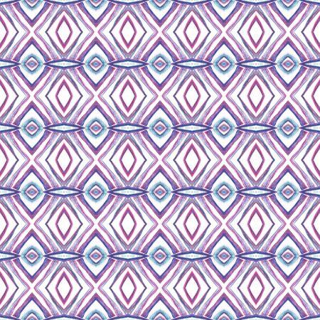 Ethnic Surface. Hand Drawn Painted. Orient, Spanish, Talavera, Tunisian  Seamless Pattern. Geo Surface. Ancient Vintage Wallpaper. Purple, Pink Design. Woven Mosaic.