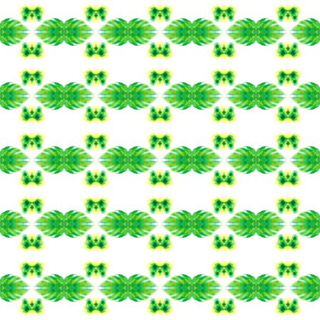Modern Abstract, Endless Repeat Painting.  Celtic, Polish, Balto-Slavic Ornament. Geo Texture. Tribal Rug. Green, Lime Watercolor. Woven Motif. Stock Photo