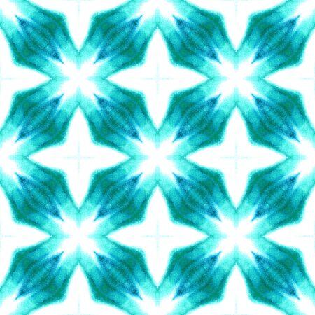 Chevron Geometric Hand Drawn Painted.  Spots, Ikat, Tie Dye, Batik Seamless Pattern.  Blue, Cyan, Turquoise Ethnic Folk Folklore Home Decor. Geometry Herringbone Design.