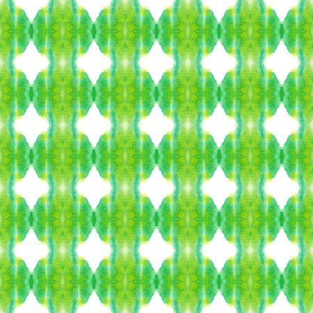 Ethnic Surface. Hand Drawn Painted. Tie Dye, Batik, Hand Drawn, Paint Texture Seamless Pattern.  Green, Lime, Mint Vintage Tribal Summer Linen. Woven Stripes Ornament. Stock Photo