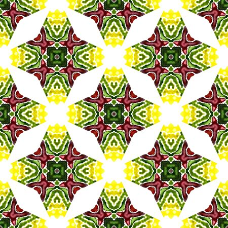 Watercolor Surface. Endless Repeat Painting.  Moroccan, Spanish, Mediterranean, Majolica Ornament. Geo Geometric. Native Textile. Burgundy, Green Watercolor. Natural Ornament. Stock Photo