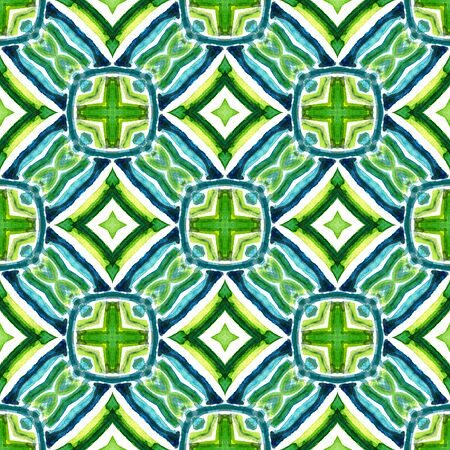 Ethnic Texture. Hand Drawn Painted. Mexican, Navajo, American, Cherokee Seamless Pattern. Tribal Texture. Native Home Decor. Blue, Green, Lime, Mint Watercolor. Geometrical Art.