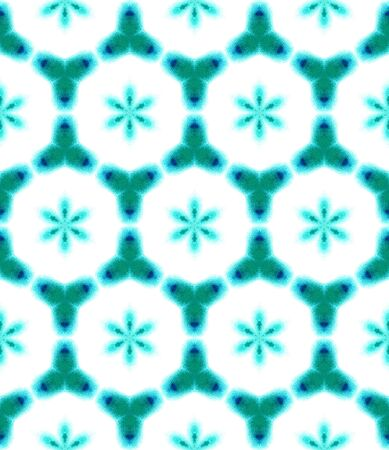 Tribal Art. Endless Repeat Painting.  Moroccan, Tunisian, Turkish, Arab, Ornament. Chevron Geometric. Folklore Carpet. Blue, Indigo Art. Geometrical Ornament. Stock Photo