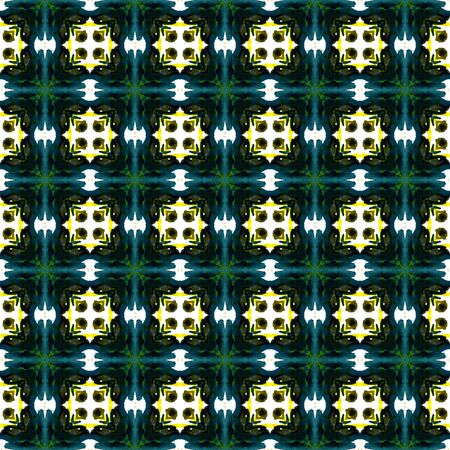 Geo Texture. Hand Drawn Painted. Tunisian, Turkish, Arab, Arabesque Seamless Pattern. Traditional Graphic. Vintage Folk Rug. Yellow, Green Print. Geometrical Motif. Stock Photo