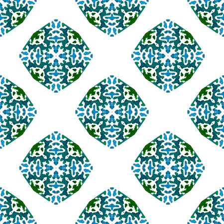 Geo Surface. Endless Repeat Painting.  Talavera, Azulejos, Portugal, Turkish Ornament. Chevron Geometric. Geo Linen. Blue, Green  Surface. Geometrical Surface. Stock Photo