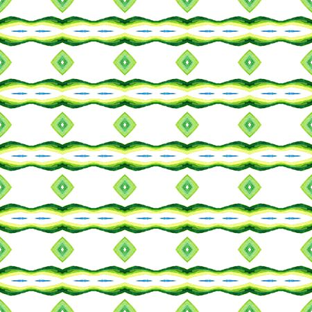 Ethnic Surface. Hand Drawn Painted. Aztec, Navajo, American, Cherokee  Seamless Pattern. Chevron Geometric. Vintage Textile. Blue, Green, Lime, Mint Tile. Graphic Element.