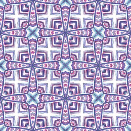 Tribal Texture. Hand Drawn Painted. Navajo, Aztec, American, Cherokee Seamless Pattern. Chevron Geometric. Ethnic Embroidery. Pink, Purple, Lilac Pattern. Organic Print.