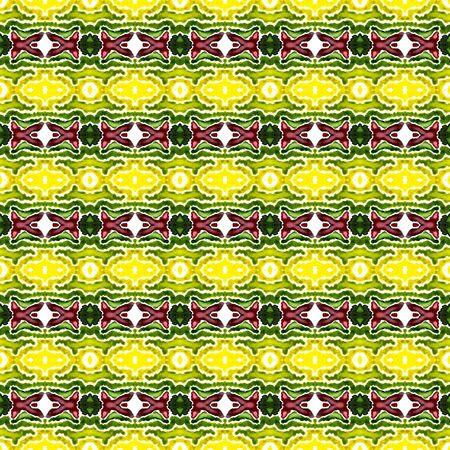 Ethnic  Art. Hand Drawn Painted. Cherokee, American, Navajo Seamless Pattern. Ethnic Surface. Modern Wallpaper. Burgundy, Green Art. Geometrical Element. Stock Photo