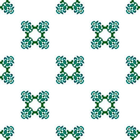 Tribal Texture. Hand Drawn Painted. Northern, Russian, Celtic , Polish Seamless Pattern. Chevron Geometric. Ethnic Bed Linen. Blue, Green Texture. Medallion Motif.