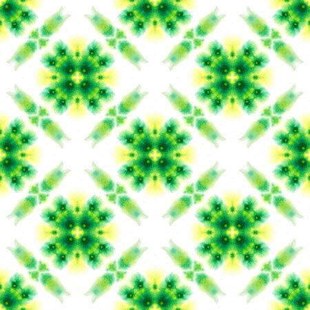 Traditional Art. Hand Drawn Painted. Moroccan, Tunisian, Turkish, Arab Seamless Pattern. Geo Texture. Traditional Bed Linen. Yellow, Green Texture. Chevron Tile.