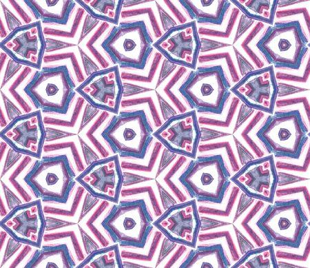 Traditional Graphic Hand Drawn Painted.  Talavera, Tunisian, Turkish, Arab Seamless Pattern. Modern Abstract. Ethnic Tribal Fabric. Purple, Pink Element. Graphic Mosaic.